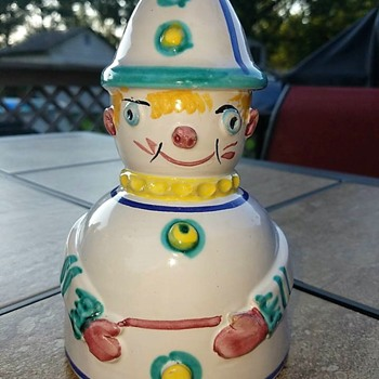 Clown Piggy Bank - Art Pottery
