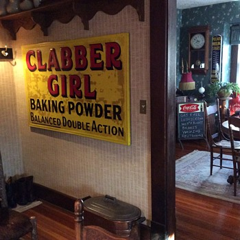 NOS...Embossed Clabber Girl...tin sign...1950's - Signs