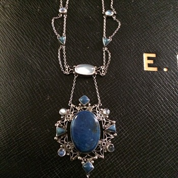 Arts & Crafts Lapis & Moonstone Necklace