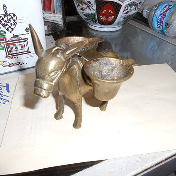 Brass Donkey Saddlebag Ashtray -- Made In China - Tobacciana