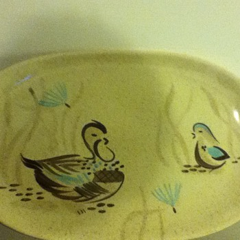 Red Wing Bob White pattern serving dish--childhood fave