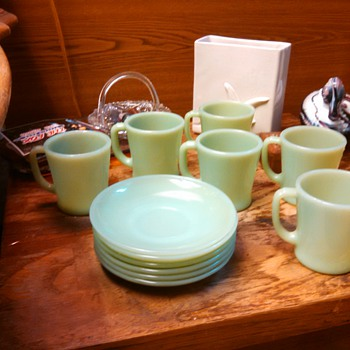 JADEITE FIRE-KING RESTAURANT WARE D Handle mugs and Saucers!