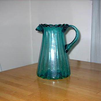 Antique Glass Pitcher from  Yugoslavia Circa 1900 - Glassware