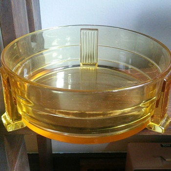 Large art deco yellow glass bowl?