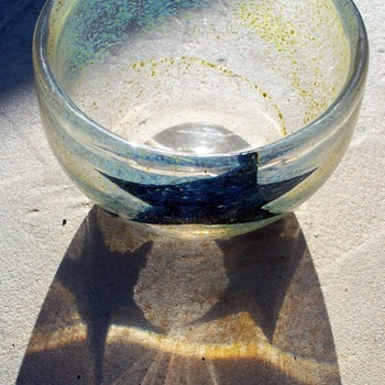 Signed Johansfors Glasbruk  Swedish Glass Bowl w/ Stars and Gold Flecks - Art Glass