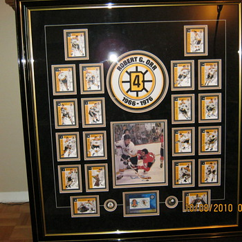 Collage of pictures of Bobby Orr and team mates - Hockey