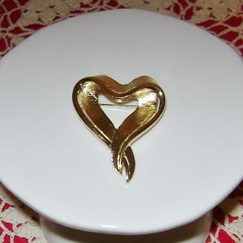 Trifari Heart Brooch - Costume Jewelry