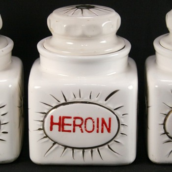 Vintage Porcelain Apothecary Jars Marijuana~Heroin~Opium  - Art Pottery