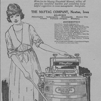 1919 - Maytag Washing Machine Advertisement - Advertising