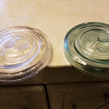 Dug Fruit embossed fruit jar lids aqua and clear What Jar? PLS Help!!