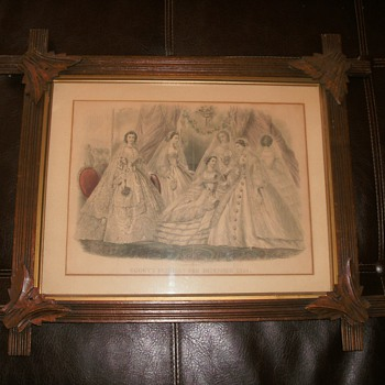 Antique framed Godey's Fashion print Dec. 1891