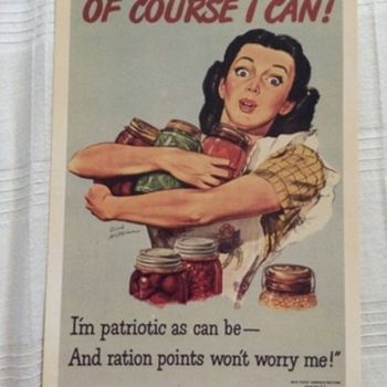 PATRIOTIC WW11 POSTCARD ABOUT RATIONING and poster, same picture. - Postcards