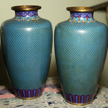 Pair of Large Cloisonne Vases - Art Nouveau