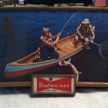 Budweiser sign with fisherman