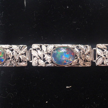 Arts & Crafts Platinum & Opal Bracelet