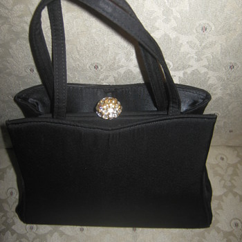 Vintage HLevin Black Satin Handbag 50s or 60s