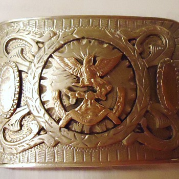 Mexico 950+ silver belt buckle, with gold, from a coin?,! I bought 40 years ago in Mexico, but how old?