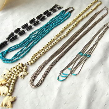 An Interesting Selection of Five Vintage Artisan Crafted Necklaces