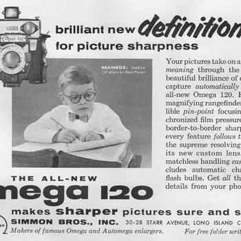 "1954 - Simmon Bros. ""Omega 120"" Enlarger Advertisement - Advertising"