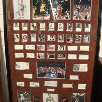 Basketball's 50 Greatest Players Framed Oversize Autograph Display - Basketball