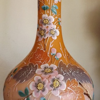 Tall cased peach and pink vase with enameled painted flowers - Art Glass