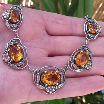 Bernard Instone Silver and Citrine Necklace