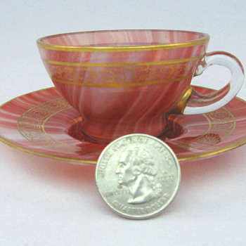 Loetz Carneol Demitasse Cup and Saucer