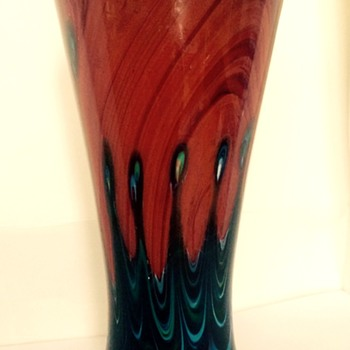 Red Marbled Rindskopf Vase - Art Glass