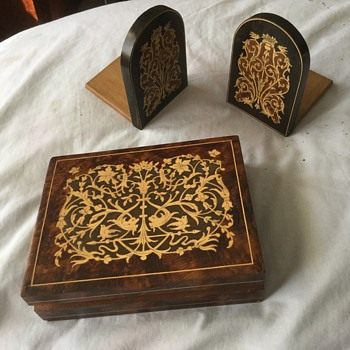 Decorated Wooden Box and Bookends