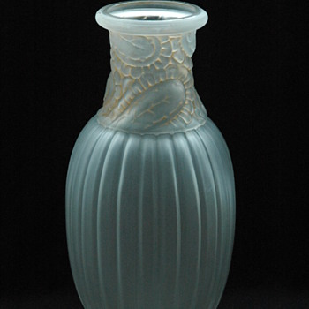 lard art deco  frosted and patinated  vase - unknow maker circa 1925 - Art Glass