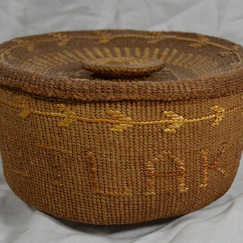 Antiques Native Basket with Arrows and Swan - Native American