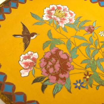 Antique Bright Yellow Japanese Cloisonne Dish, 6 inches (similar to black one) - Asian