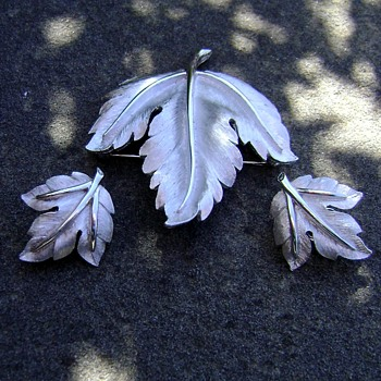 Trifari Brooch and Earrings - Leaf
