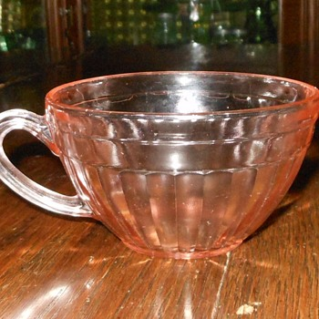 Dpression Glass Cup Aurora Pattern Plus Old Colony Saucer - Glassware