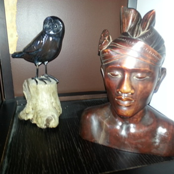 WOODEN BUST & OWL - Folk Art