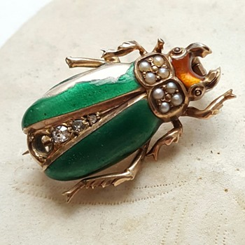 Antique 14k enamel beetle watch pin. - Fine Jewelry