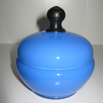 Blue Tango Glass lidded vanity piece - Art Glass