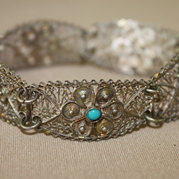 Filgree Silver Bracelet with Turquoise  - Costume Jewelry