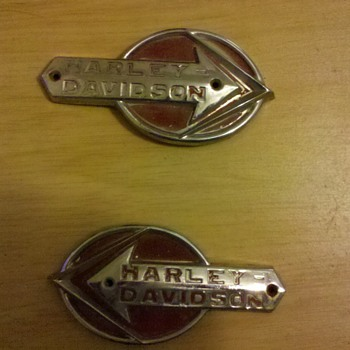 Early Harley Davidson tank badges. - Motorcycles