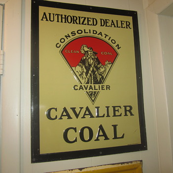 Cavalier coal sign embossed tin
