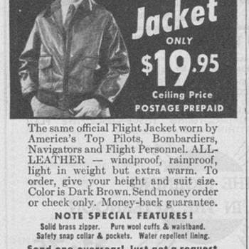 1946 - Army Air Force Flight Jacket Advertisement - Advertising