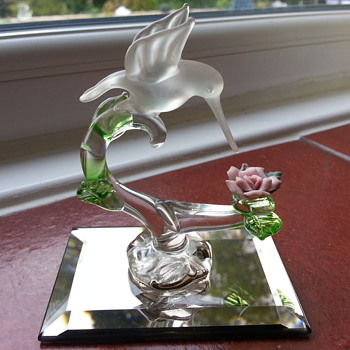 "Glass Bird on Mirror 3"" High"