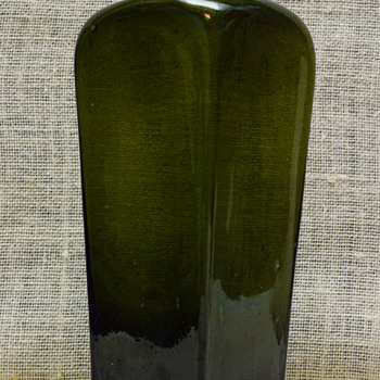 Old Hand Blown Green Bottle  - Glassware