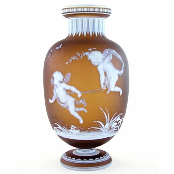 Cupid and Puto at Play - Art Glass