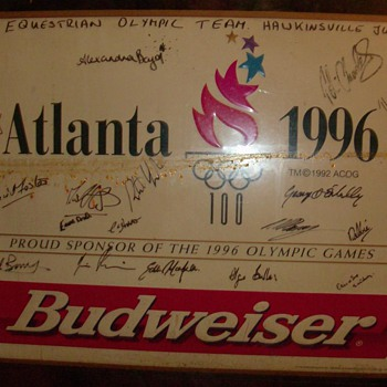1996 atlanta equestrian olympic team signatures on budwiser sign