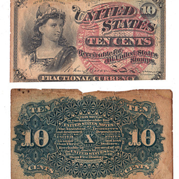 act of march 3ed 1863 10 cents confederate bill - US Paper Money