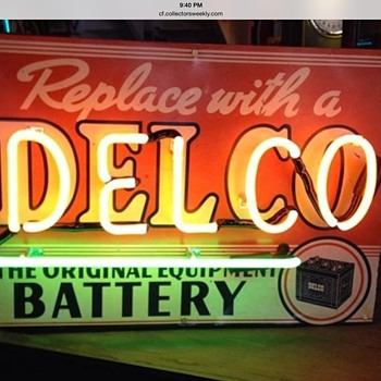 "1950's ""DELCO BATTERY""neon tin sign - Signs"