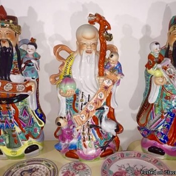 Vintage Feng Shui Wisemen Fu Lu Shou Exception Quality Custom Made