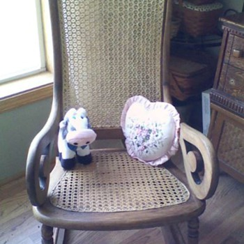 spider web, cane backed, Lincoln rocker - Furniture