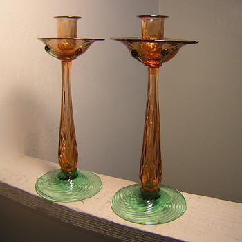 My best find for Steuben candlestick holders. - Art Glass